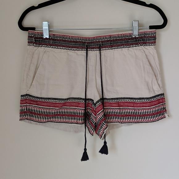 LOFT Pants - Embroidered LOFT Linen Shorts